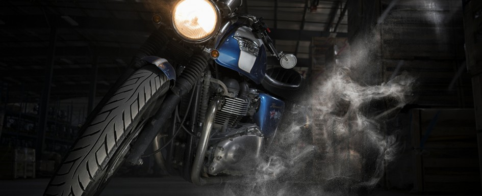 Ghostly Triumph Cafe Racer Motorcycle